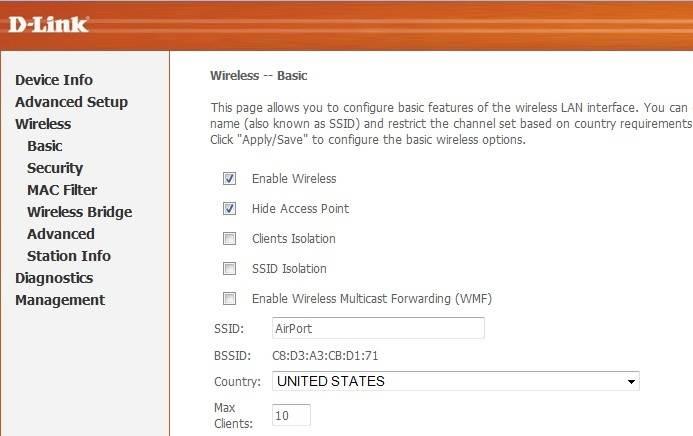 Hide WiFi Network DLink